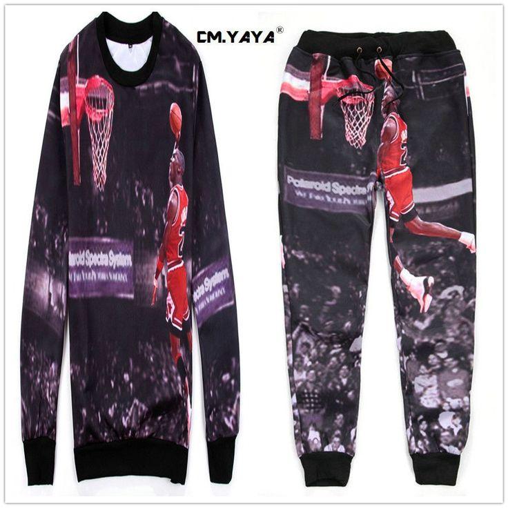 CMYAYA 2016 New Men Casual Black Print Michael Jordan Top 2pcs Sweatshirt + Jogger  Pant Enjoy