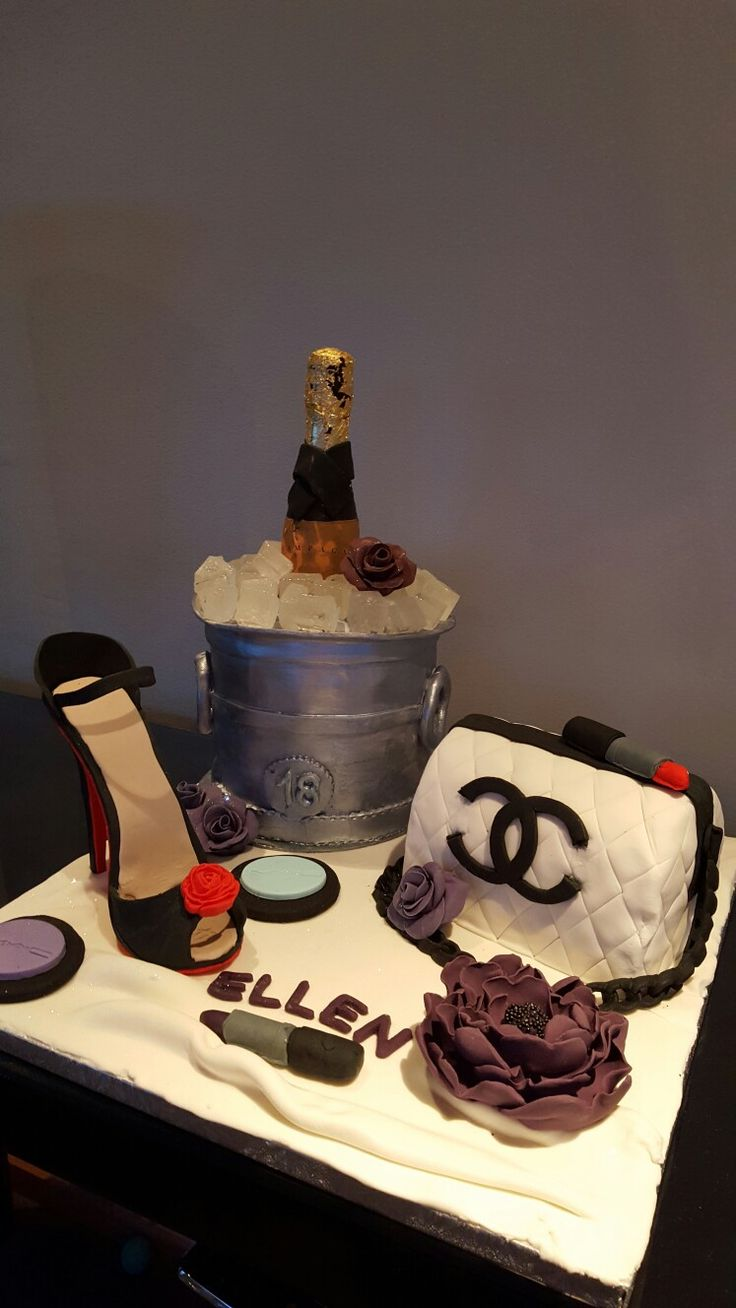 18th birthday  champagne shoe and handbag cake