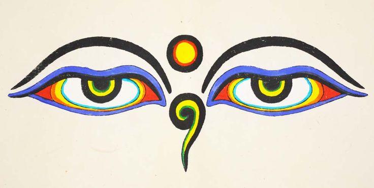 Handmade Buddhist Poster with Buddha Eyes Symbol - Mandala Trading