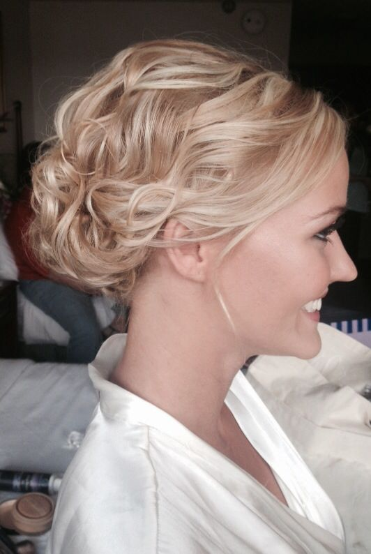 Loose Curly Swept Back Wedding Updo On A Beautiful Blonde Stylebykendyl MissAPSU Pageantqueen