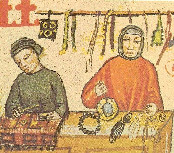 Florentine shop in the 14th century (Libro delle Florentine salt tax, Ricardi Library)