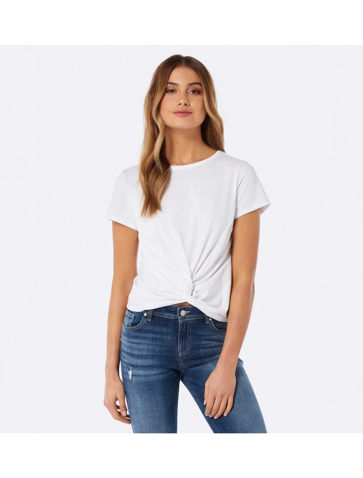 Embrace casual chic with our Whitney Twist Front Crop Tee,  for a look that epitomises effortless style.