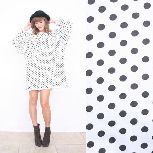 Carolina Herrera L XL Black White POLKA DOT Print Batwing Slv Mini T Shirt Dress