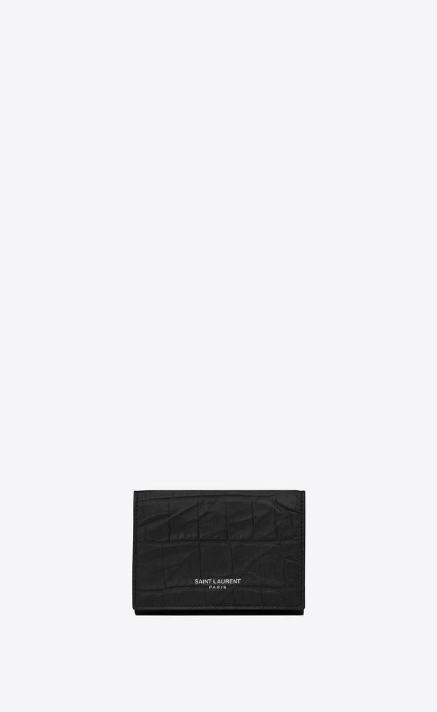 Saint Laurent Small Wallets Y E Saint Laurent Paris Tiny Wallet In Black Crocodile Embossed Leather Wallets For Women Leather Saint Laurent Saint Laurent Store