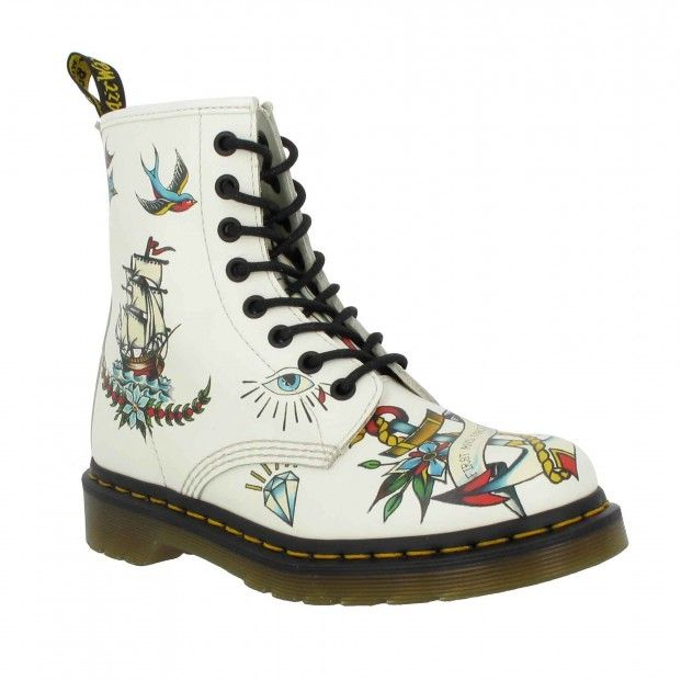 http://www.popularclothingstyles.com/category/dr-martens/ Dr MARTENS 1460 Louie cuir Femme Blanc Tatoo