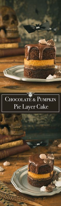 This Chocolate and Pumpkin Pie Layer Cake has stacks of moist chocolate cake alternated with maple pumpkin pie nestled on a sweet & crunchy cookie crust. #HalloweenRecipes #PumpkinRecipes #ThanksgivingRecipes