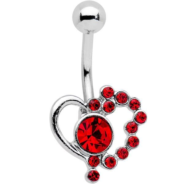 Red Gem Funky Valentines Day Heart Belly Ring