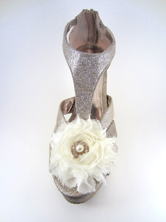 Bridal Shoe Clips Flower Shoe Clip Wedding Shoe by MissOdetteShop, $30.00
