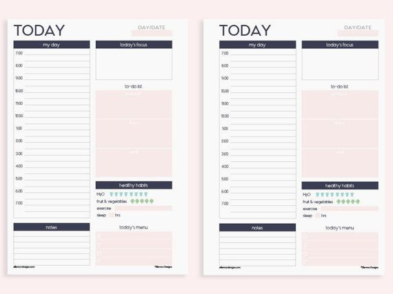 A5 Printable Insert Refill Daily Planner with by EllemonDesigns
