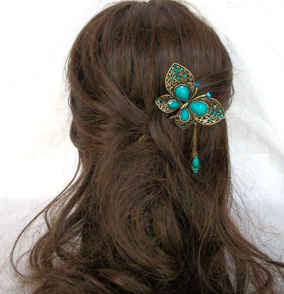 Oriental vintage hair sticks/ hair pin/ Bridal headpieces/ Wedding hair stick/Chinese Kanzashi Rhinestones butterfly with dangling charm. $15.95, via Etsy.