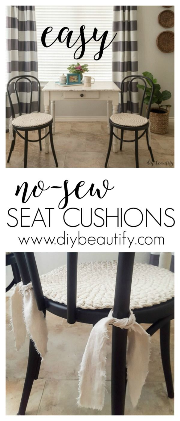 These round seat cushions are completely no sew, and took minutes to make! See how at diy beautify!