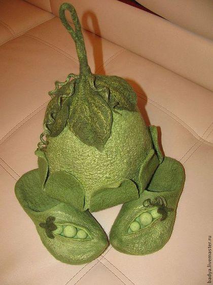 """Банные принадлежности ручной работы. Ярмарка Мастеров - ручная работа. Купить Шапка для бани  """"Зеленый горошек"""". Handmade. Зеленый, для сауны"""