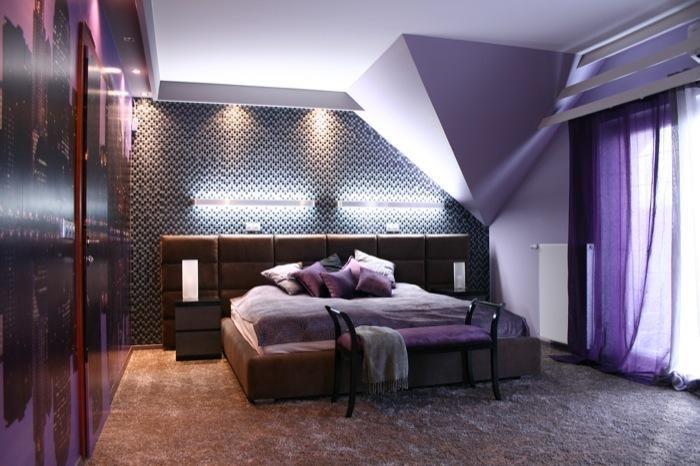 Aranżacja sypialni wystrój nowoczesny w kolorach fiolet - projekt wnętrza #4963, Homplex