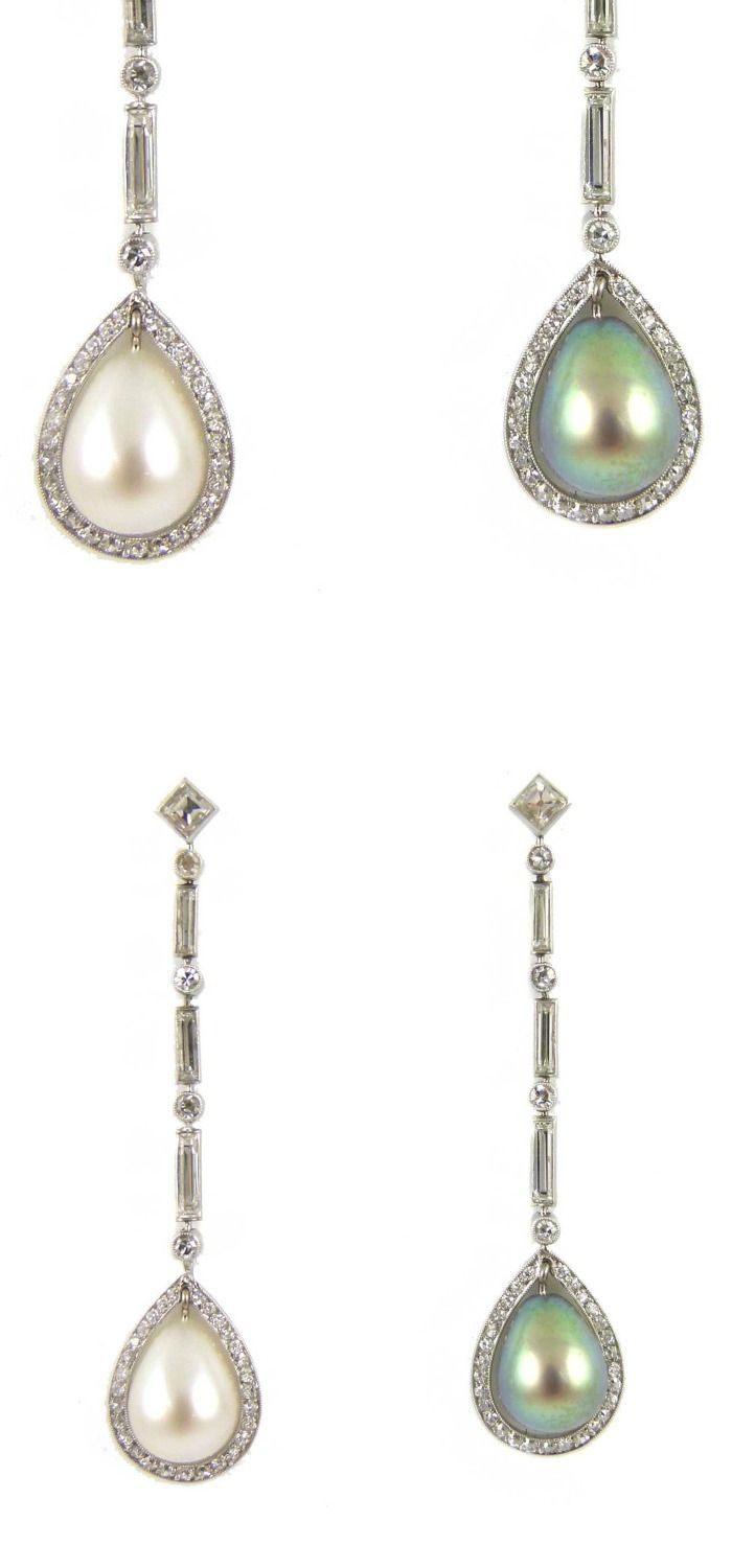 Pair Of Drop Pearl And Diamond Pendant Earrings, One Hung With A White  Pearl,