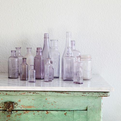 Lilac & pale green - love these colors together: Decor, Antiques Bottle, Vintage Bottle, Colors, Glass Bottles, Glasses Bottle, Old Bottle, Lavender Bottle, Purple Glasses