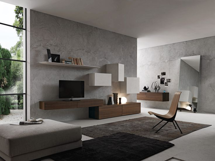 Presotto base units in tabacco aged oak wall units and slanting shelves