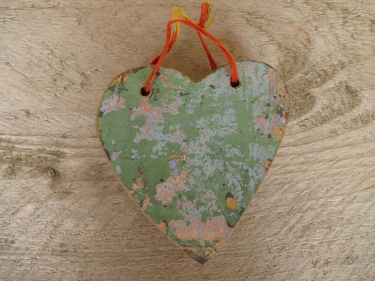scrapwood hart groen / roze