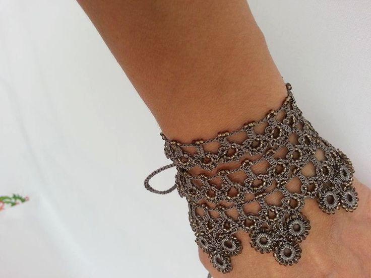 Cuff bracelet - bracelet with beaded crochet flowers and blue crochet lace-peyote bracelet-Beaded crochet on Etsy