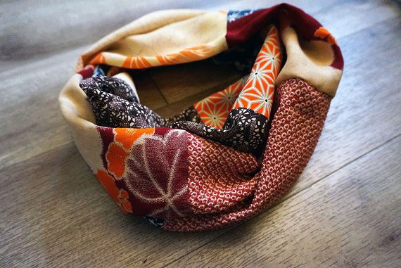 Vintage Japanese Kimono Patchwork infinity scarf