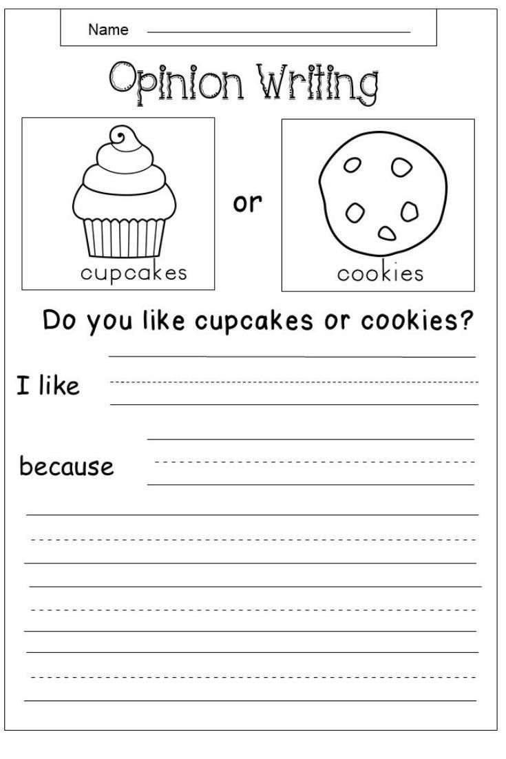 2 First Grade Writing Worksheets Opinion Free Opinion Writing Printable Kindergarten Writing Prompts Elementary Writing First Grade Writing