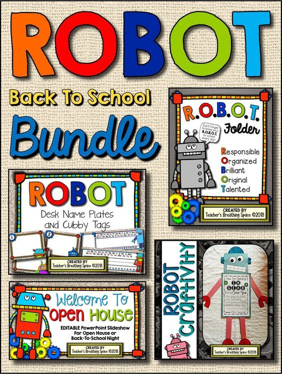 Robot Back To School BUNDLE Includes EDITABLE Student Folder Covers EDITABLE Open House Power Point Presentation Student Desk Name Plates …