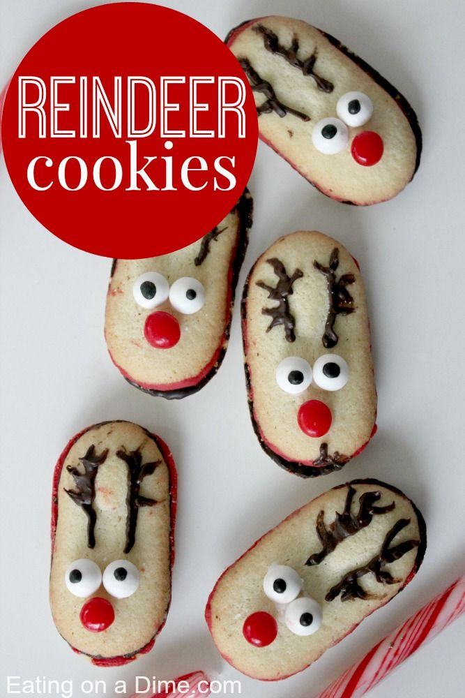 Learn how to make these adorable Reindeer Cookies. They are easy to make because you use milano cookies to start. These are perfect for the holidays! - Eating on a Dime