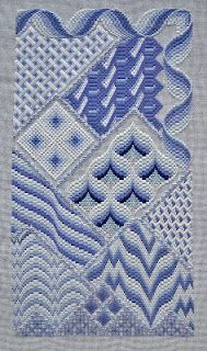 """Bargello Fantasy"" by Loretta Spears.  Gorgeous!  Found out on the blog that Loretta died in 1994 and did not want her patterns reproduced after her death, so this pattern is only available from people who already had the pattern when she died.  Currently, none are available.  IF ANYONE OUT THERE HAS THIS PATTERN, I WOULD LOVE TO BUY IT FROM THEM!"