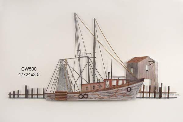 Sea-going Ship at Port Metal Wall Art