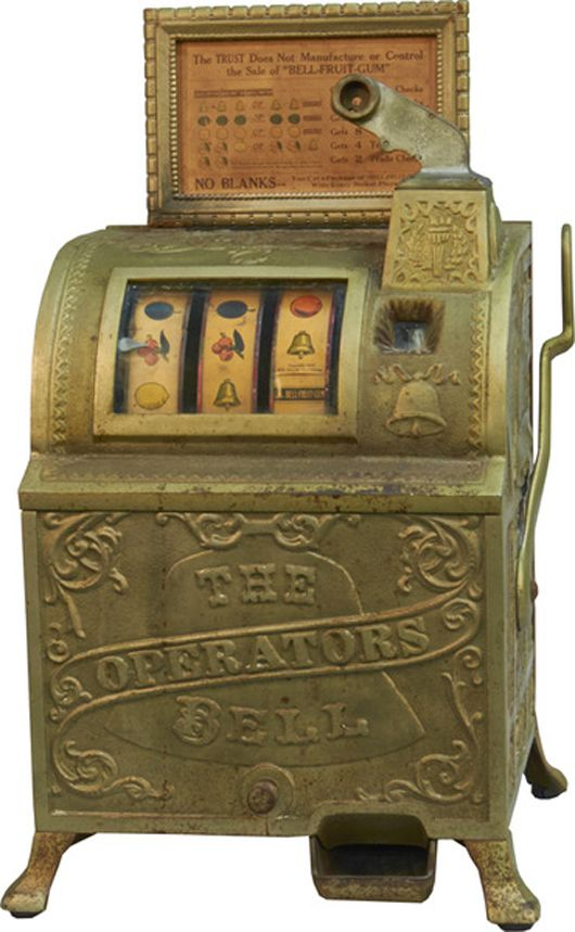Image result for antique ornate mail slot for sale, Five-cent Mills Novelty Operators Bell slot machine. Victorian Casino Antiques image. liveauctioneer