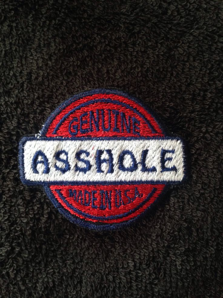 Custom patch motorcycle Harley jacket Asshole USA adult humor embroidery red white blue color honda buell motorbike bike leather vest by LaurynandLuca on Etsy