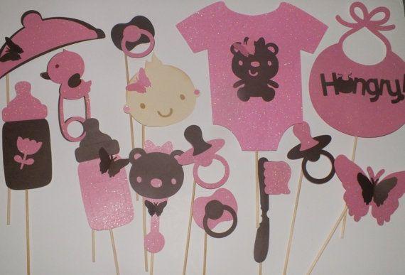 PHOTO BOOTH PROPS para baby shower rosados y por Thepartypitstop