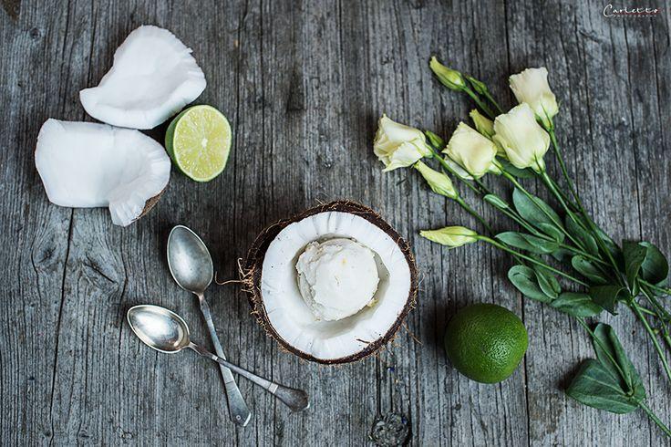 Rezept für hausgemachtes Kokosnuss Limetten Sorbet.