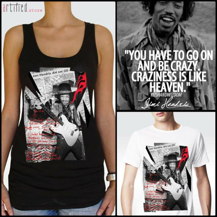 """We choose to be crazy & happy! How about you?? New artified t-shirt with """"Jimi Hendrix"""" design, available at artifiedstore.com e-shop!!! MEN: http://www.artifiedstore.com/en/men/63-m24-jimi-hendrix-t-shirt.html WOMEN: http://www.artifiedstore.com/en/w/38-w39-jimi-hendrix-t-shirt.html"""
