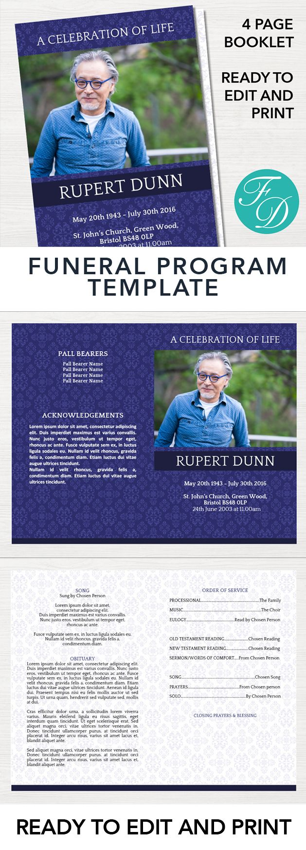 Printable Funeral program ready to edit & print. Simply purchase your funeral templates, download, edit with Microsoft Word and print. #obituarytemplate #memorialprogram #funeralprograms #funeraltemplate #printableprogram #celebrationoflife #funeralprogamtemplates