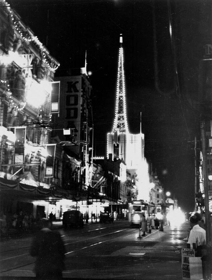 Illuminations in Queen Street, Brisbane, ready for the royal visit in 1954 - This highly decorated block of Queen Street is between Edward and Creek Streets.