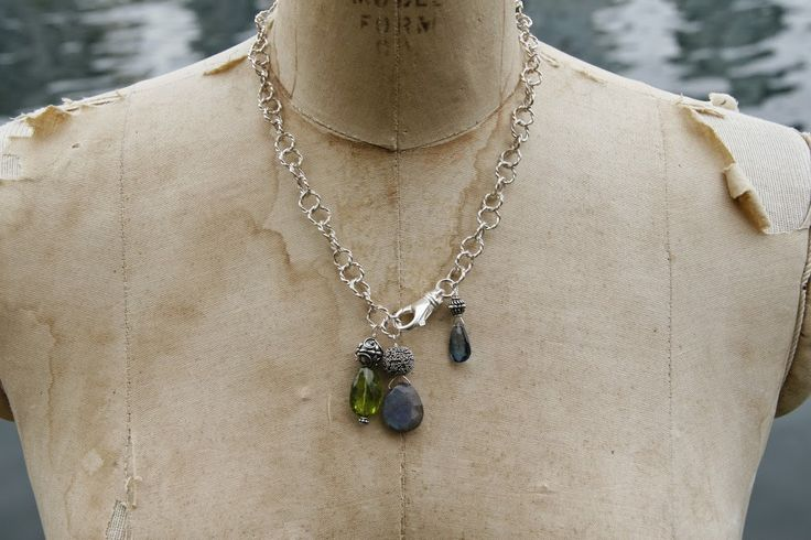 Sterling silver chain with three bold pendants -- peridot, labradorite, and London blue topaz.