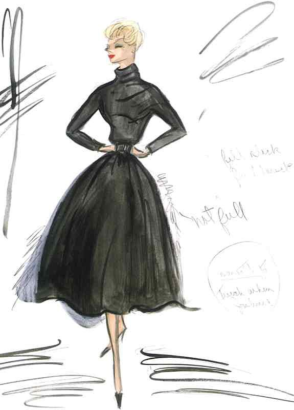 edith head sketch for kim novak in vertigo 1958