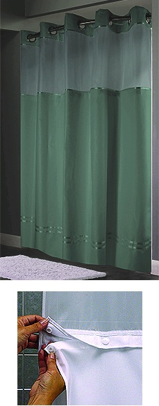 Escape Hookless® Shower Curtain with  snap liner, seafoam,