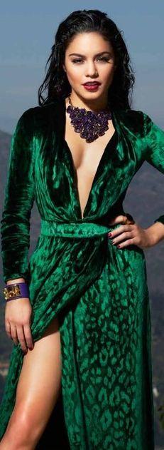 Green velvet leopard dress