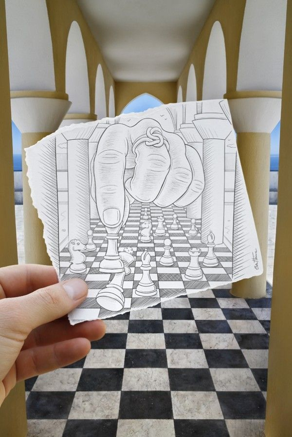 """""""Drawing Vs Photography"""" or """"Imagination Vs Reality"""" works by Ben Heine"""