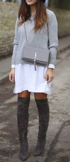 Street style | Grey sweater over white blouse dress and over the knee boots