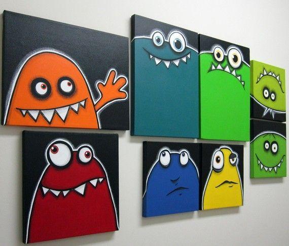 Idea de decoración cuarto infantil con cuadros de monstruos por art4barewalls en etsy  -   Children's room decorating idea with pictures of monsters etsy art4barewalls