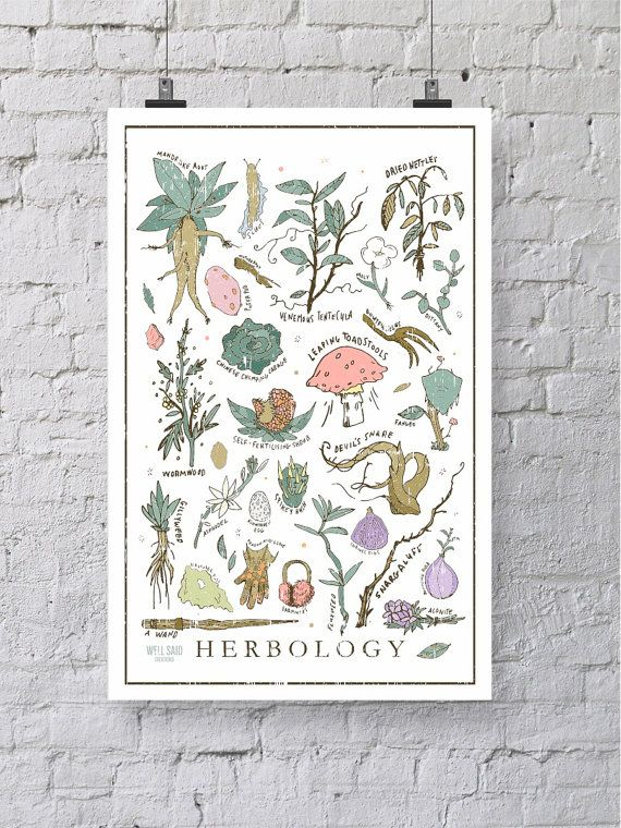 Harry Potter Herbology Print / Poster 12 x от WellSaidCreations