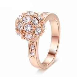 Golden Ball Rose Gold Plated Wedding Ring (Austrian Crystals)