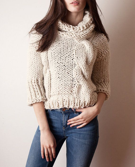 Oatmeal sweater, cowlneck, bulky short pull, cable knit, winter knitwear, gifts for women, turtleneck casual hand knit, soft wool pull over