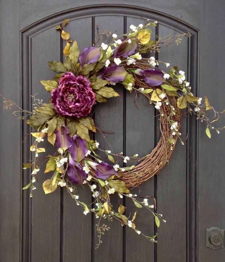Spring Summer Wreath Wispy White Florals Door Wreath Grapevine Wreath Decor