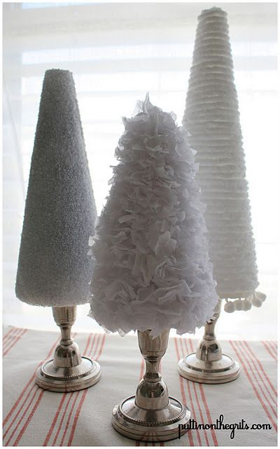 Love the candlestick holders as the trunks!  why didn't I think of that? Great for bottlebrush trees with no bases.