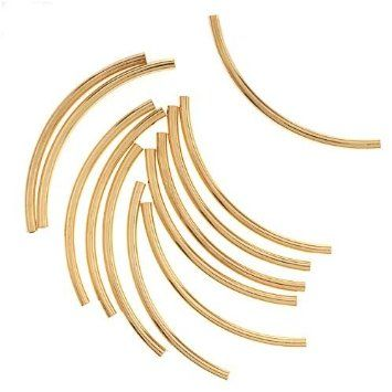 Amazon.com - 22K Gold Plated Curved Noodle Tube Beads 2mm x 38mm (12)