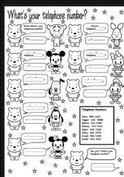 English worksheet: what´s your telephone number?