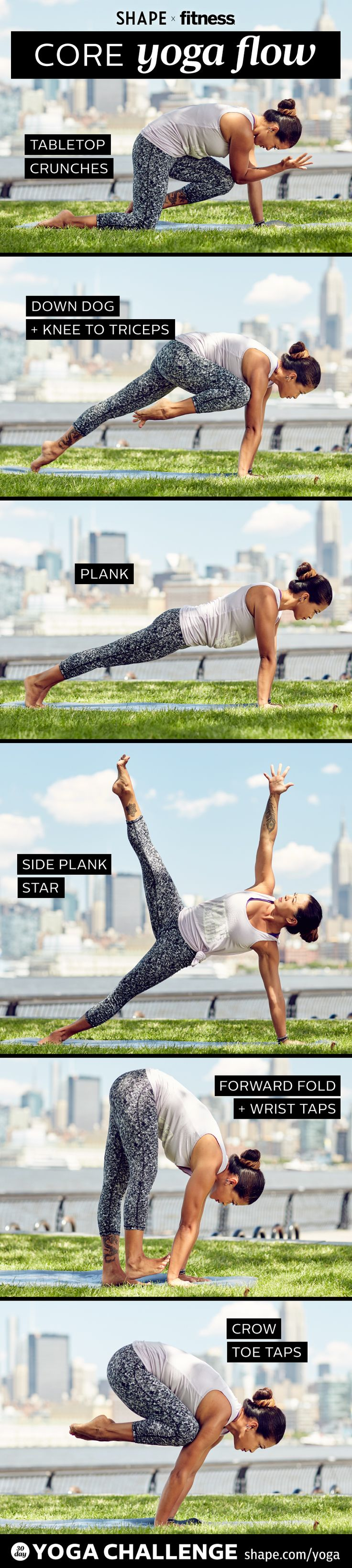 Week 2 of our Yoga Challenge with SHAPE Magazine and Two Fit Moms. Strengthen your core with these graceful poses.